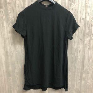 Express black side slit hi lo blouse with zipper